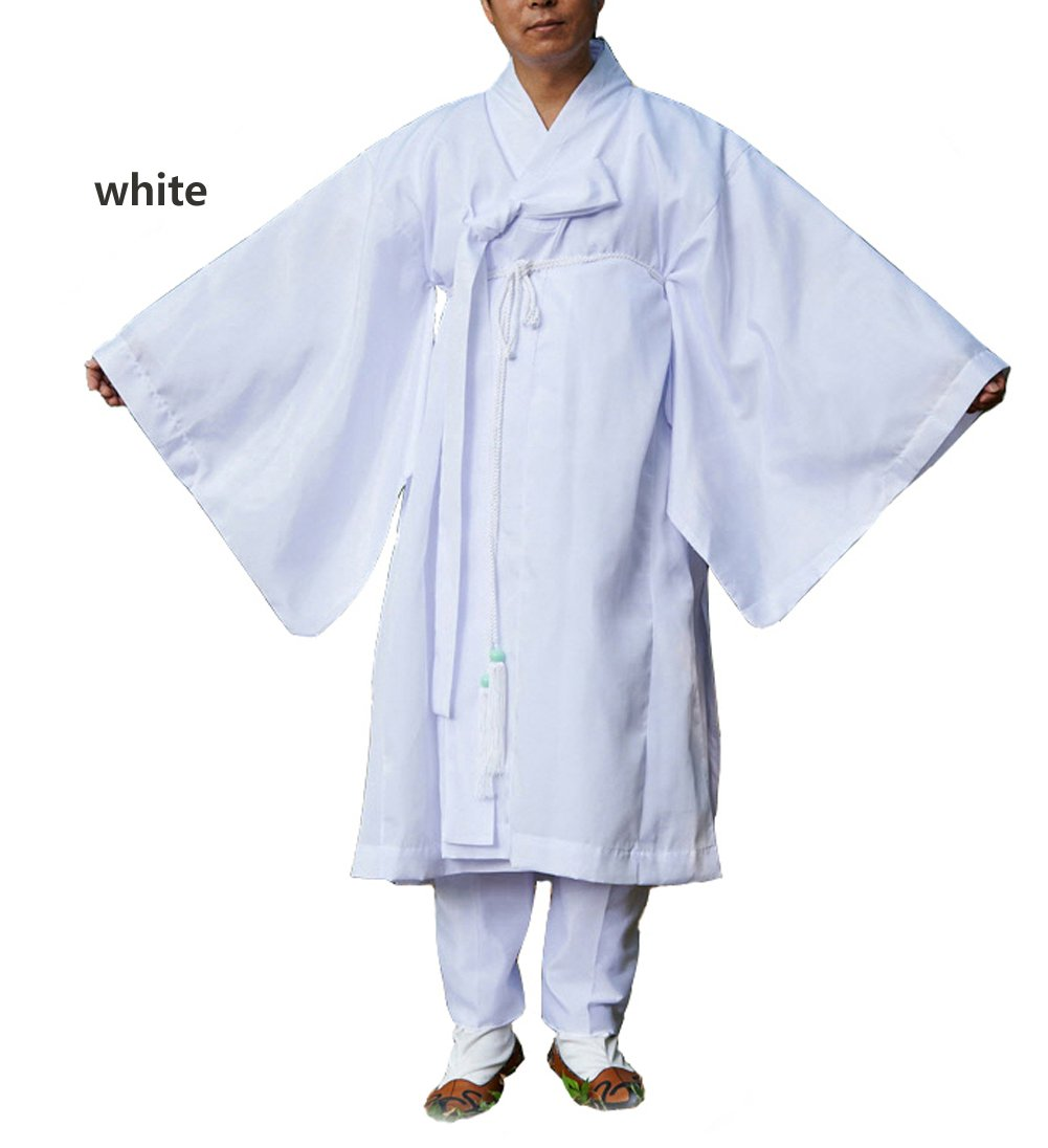 Men Water Silk Robe, Korea Traditional Men Clothing Dopo, Halloween Costumes (white, L) by Altair (Image #2)