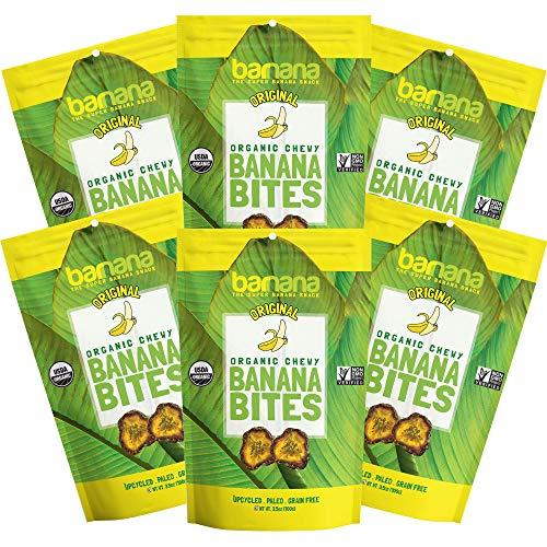 Barnana Organic Chewy Banana Bites - Original - 3.5 Ounce, 6 Pack Bites - Delicious Potassium Rich Banana Snacks - Lunch Dinner Sports Hiking Natural Snack - Whole 30, Paleo, Vegan