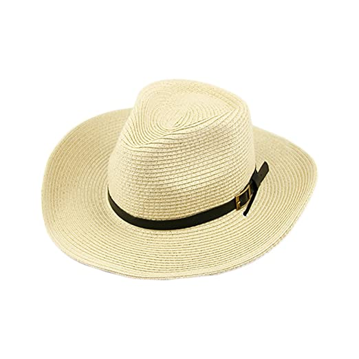5c35458e7461d5 Image Unavailable. Image not available for. Color: CHUANGLI Women Mens Wide  Brim Foldable Straw Sun Hat Cowboy Hat Beachwear Sun Protection