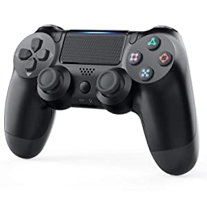 Game Controller for Playstation 4, YCCTEAM 1000mAh PS4 Wireless Controller with Built-in Speaker/Gyro/Motor Remote Pro Controller Gamepad for PS4/Slim/Pro Console (Black)