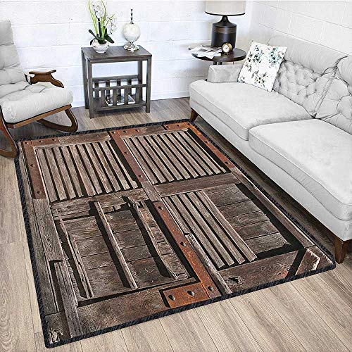 (Rustic Natural Fiber Area Rug,Vintage Wooden Italian Countryside Cottage Door Row Structured Region Style Picture Decor Carpet Popular Colors Umber Brown 67