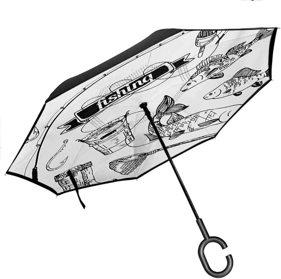 Fishing Double Layer Folding Inverted Umbrella Hand Drawn Fishing Tools Set with Rod Salmon and Perch Bucket Net Float Ribbon Hands-Free C-Shape Handle Windproof UV Protection Umbrella, Black White