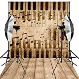 Kooer 5X7ft Black Note Piano Photography Backdrops Music for Backdrops Studio