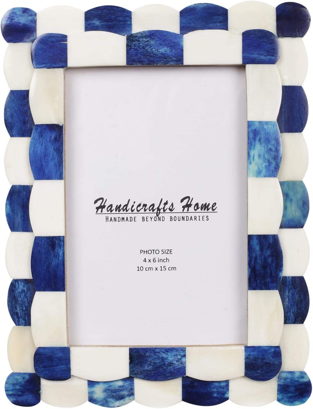 """Handicrafts Home Photo Picture Frame - 4"""" x 6"""" Handmade Gift Photo Frames - Blue & White"""
