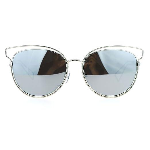 59dde649264 SA106 Womens Wire Horn Rim Cat Eye mirrored Mirror Lens Sunglasses Silver  Mirror