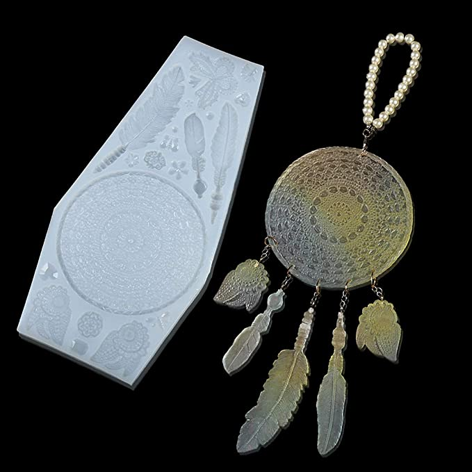 Feather DIY Epoxy Resin Craft Earrings Keychain Jewelry Pendant Silicone Mold