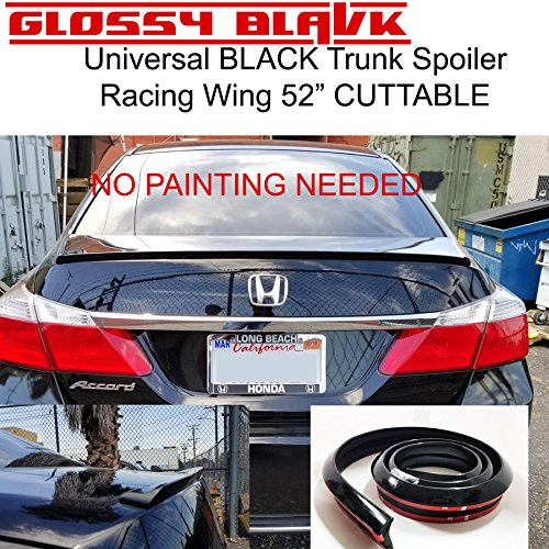 Rear Trunk Spoiler - Universal Black Glossy Auto Car Rear Roof Trunk Spoiler Wing Lip Sticker Kit
