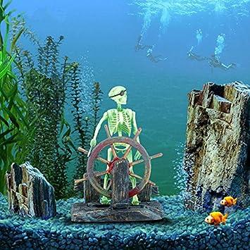 ecmqs de acción Acuario Esqueleto Piratas Capitán Ornament Acuario Paisaje Decoración: Amazon.es: Coche y moto