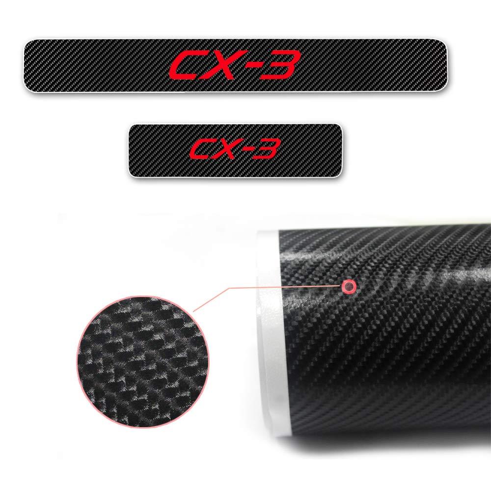 8X-SPEED pour CX-3 4D Seuil de Porte Voiture Fibre de Carbone R/éfl/échissant Autocollant,Protection Seuil P/édale Prot/éger Car Styling 4 Pi/èce Blanc