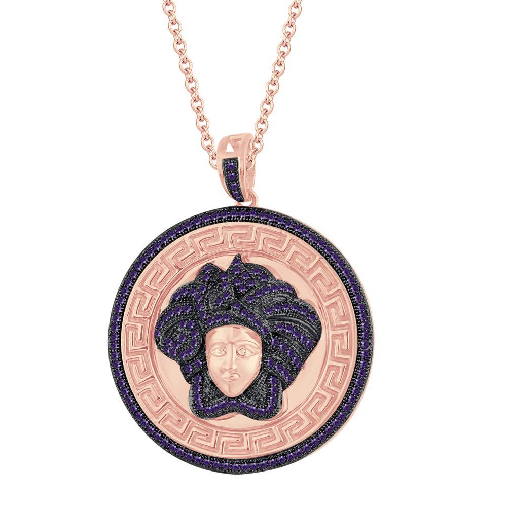 Dividiamonds 14K Rose Gold Plated 1.25 Ctw Round Cut D//VVS1 Diamonds Versa Pendant 18 Chain 925 Silver