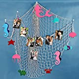 OurWarm Photo Hanging Display Frames with 15 Clips DIY Decorative Mermaid Fish Net Wall Decor for Party Home Living Room Bedroom 78.7 x 59 Inch, Beige