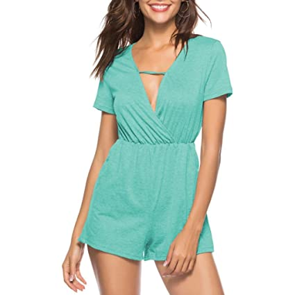ed5b08fb059 Sunward8 Summer Deep V Neck Jumpsuit Casual Loose Short Sleeve Jumpsuit  Rompers XL Green  Amazon.in  Home   Kitchen
