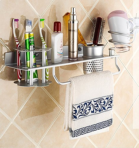 Hair Dry Holder, Wall Mount Hair Dryer Hanging Rack Organizer, Multifunctional Aluminum Hair Dryer Holder for Toothbrush, Hair Brush, towel hanger