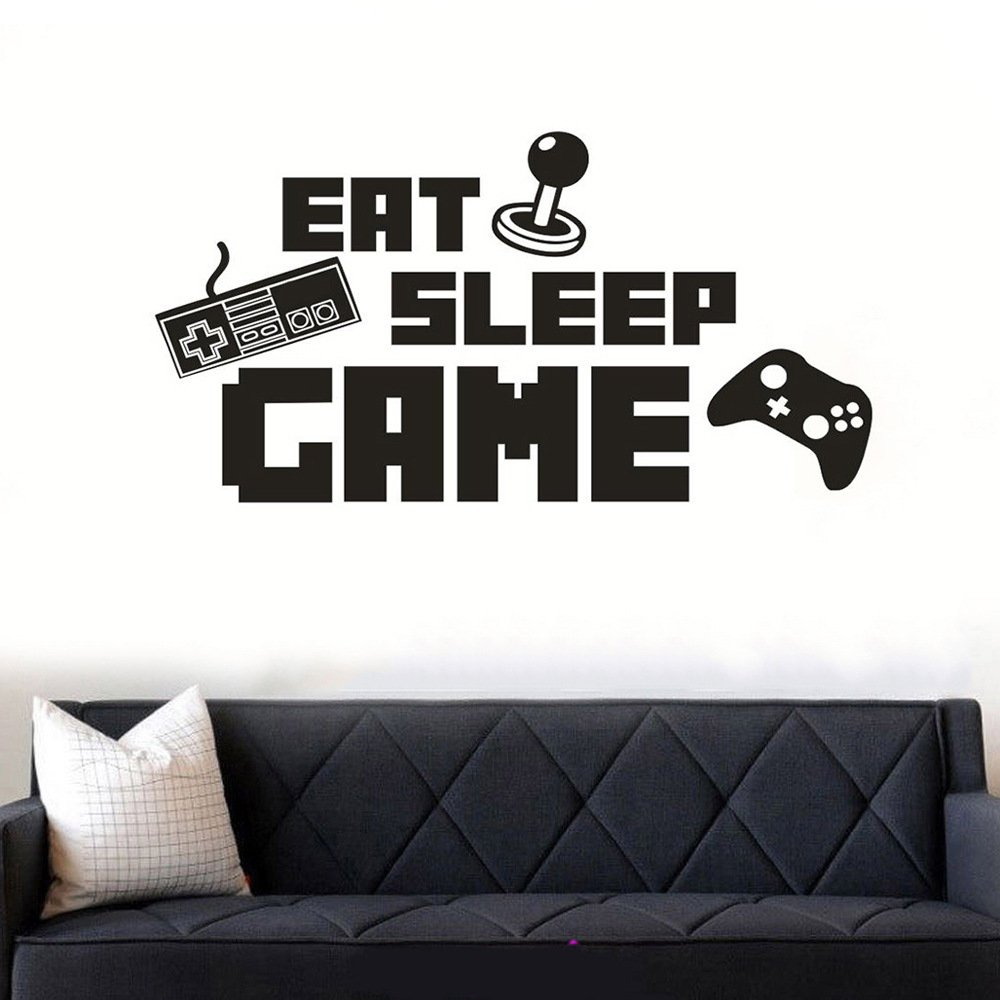 ANBER Eat Sleep Game Wall Sticker Decal Game Room Decor Children Gift Nursery Boys Room Wall Vinyl Decal Lettering Stickers Home Decor