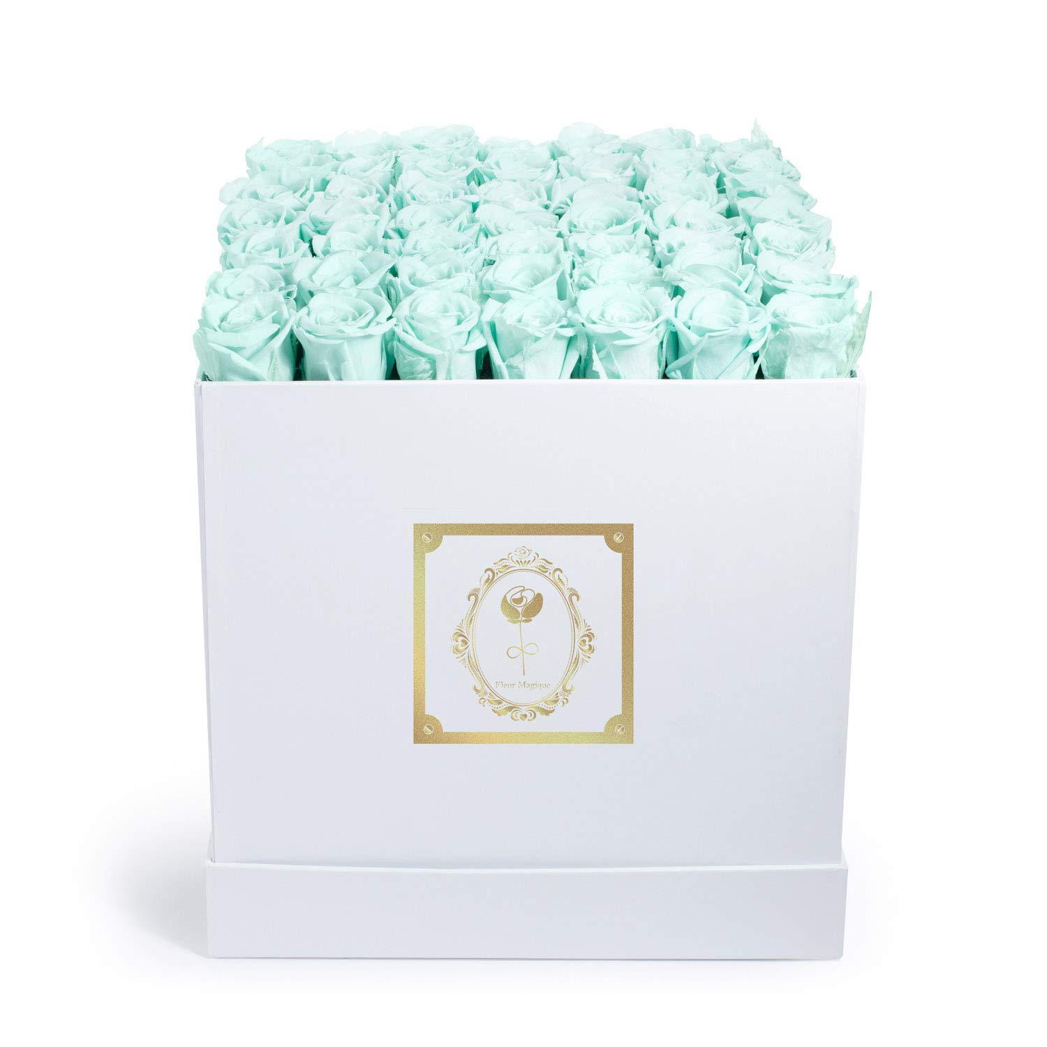 Fleur Magique | Preserved Flowers - Luxury Roses Large Square Classic White Box - Baby Blue Roses