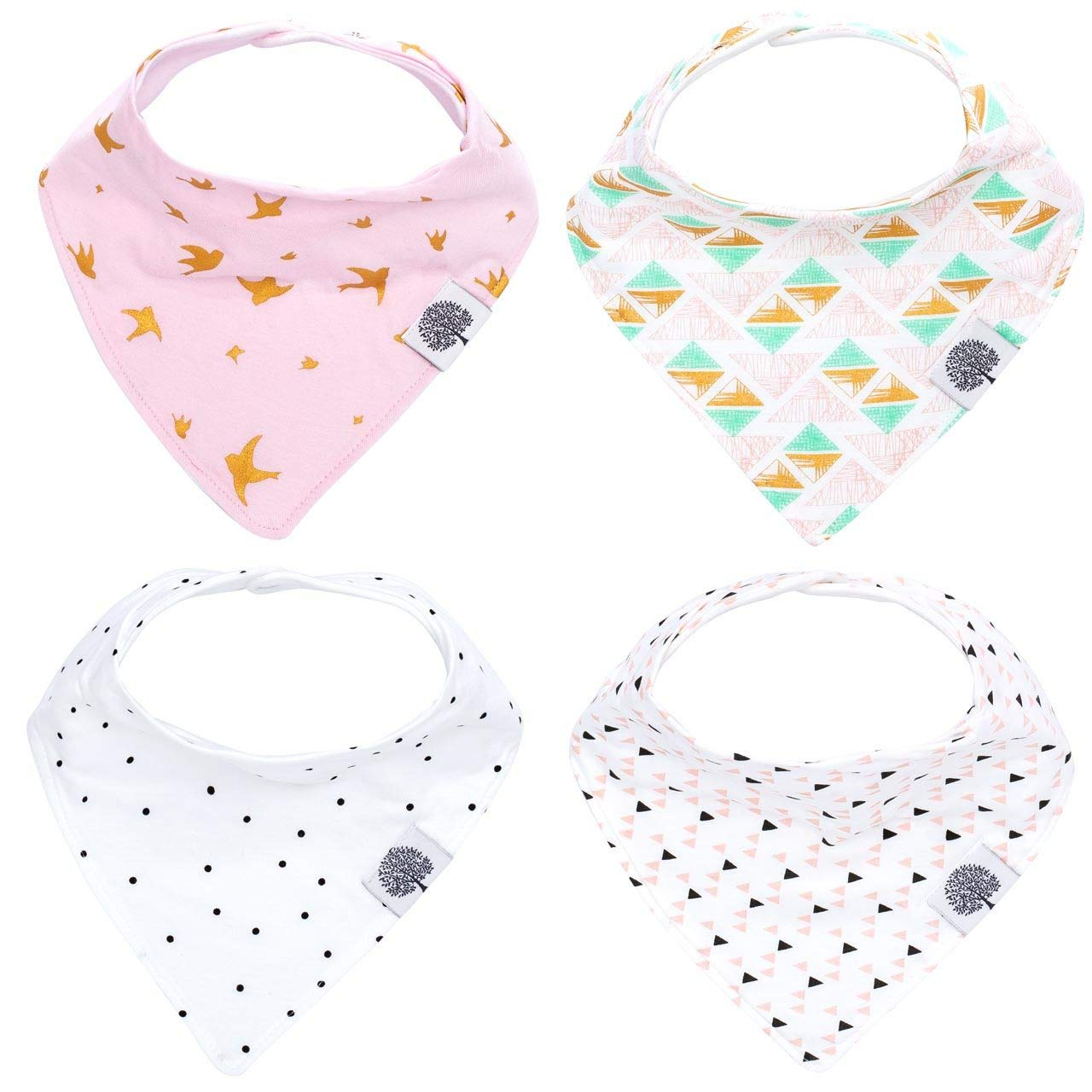 Bebamour Unisex Cotton Baby Drool Bibs 3 Pieces A Pack Teething Pad for Infant Soft and Absorbent Carrier Accessories Babys Gift Settings(white