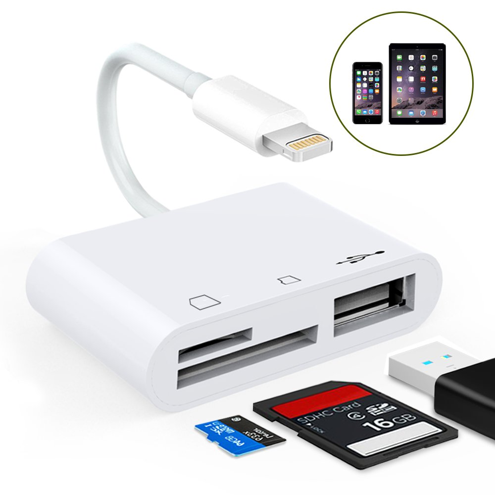 Lettore di schede da Lightning a SD / TF, 3 in 1 Lightning to Camera Card Reader Cavo adattatore per lettore multi-card con porta USB 2.0 OTG SD / TF per iPhone8 / 7/6 / iPad Pro / Mini / Air [Plug and Play, No bisogno APP] (bianco) TB®