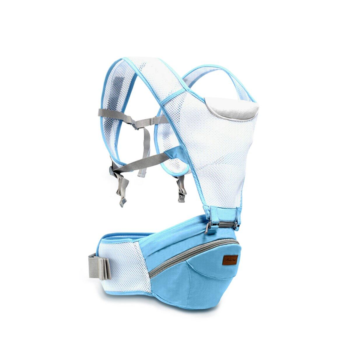 SONARIN 360°Breathable Premium Hipseat Baby Carrier,Babytrage,Ergonomisch, Mama Tasche,100% Baumwolle, Breathable Mesh Backing, Einfach zu tragen und Easy Mom,Gemütlich & Beruhigend für Babys, Angepasst an Ihr Kind wachsende, 100% GARANTIE und KOSTENLO
