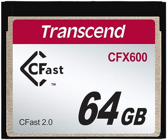 Transcend 64GB CFX600 CFast 2.0 Memoria Flash SATA MLC - Tarjeta de Memoria (64 GB, SATA, MLC, 512 MB/s, Negro)