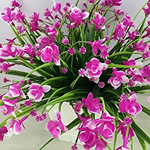 Nyalex 1 Bunch(1 Bunch=21Head) Artificial Flowers With Leaf Wedding Decoration Simulation Phalaenopsis Flower Home Decor [Pink] 3