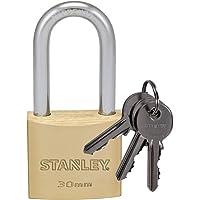 Stanley S742-042 Candado de latón macizo con arco alargado, 3 llaves, 1 unidad, 40 mm