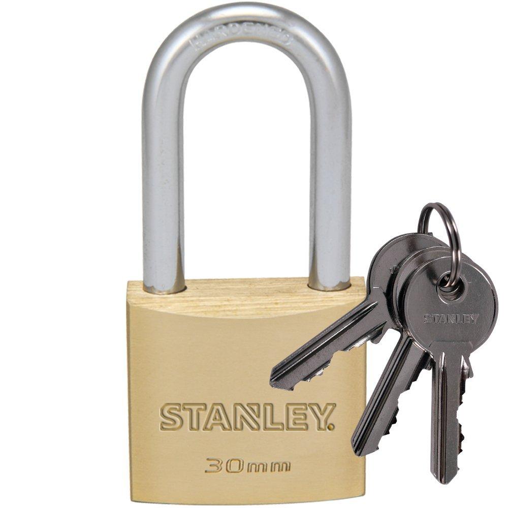 Stanley S742-044 - Candado macizo con arco alargado, 3 llaves (lató n, 50 mm) 3 llaves (latón 81114 371 401