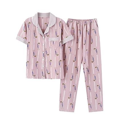 Women - pajamas ALUK- Traje de pijama de rebeca de cuello casual para mujer de