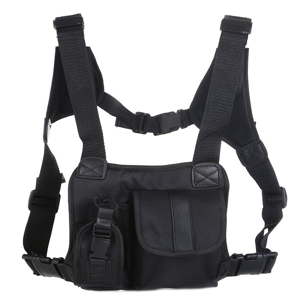 Trdio Universal Hands Free Radio Vest Chest Rig Harness Bag Holster Front Pack Pouch for Two Way Radio Walkie Talkie(Rescue Essentials) (Leather Black)
