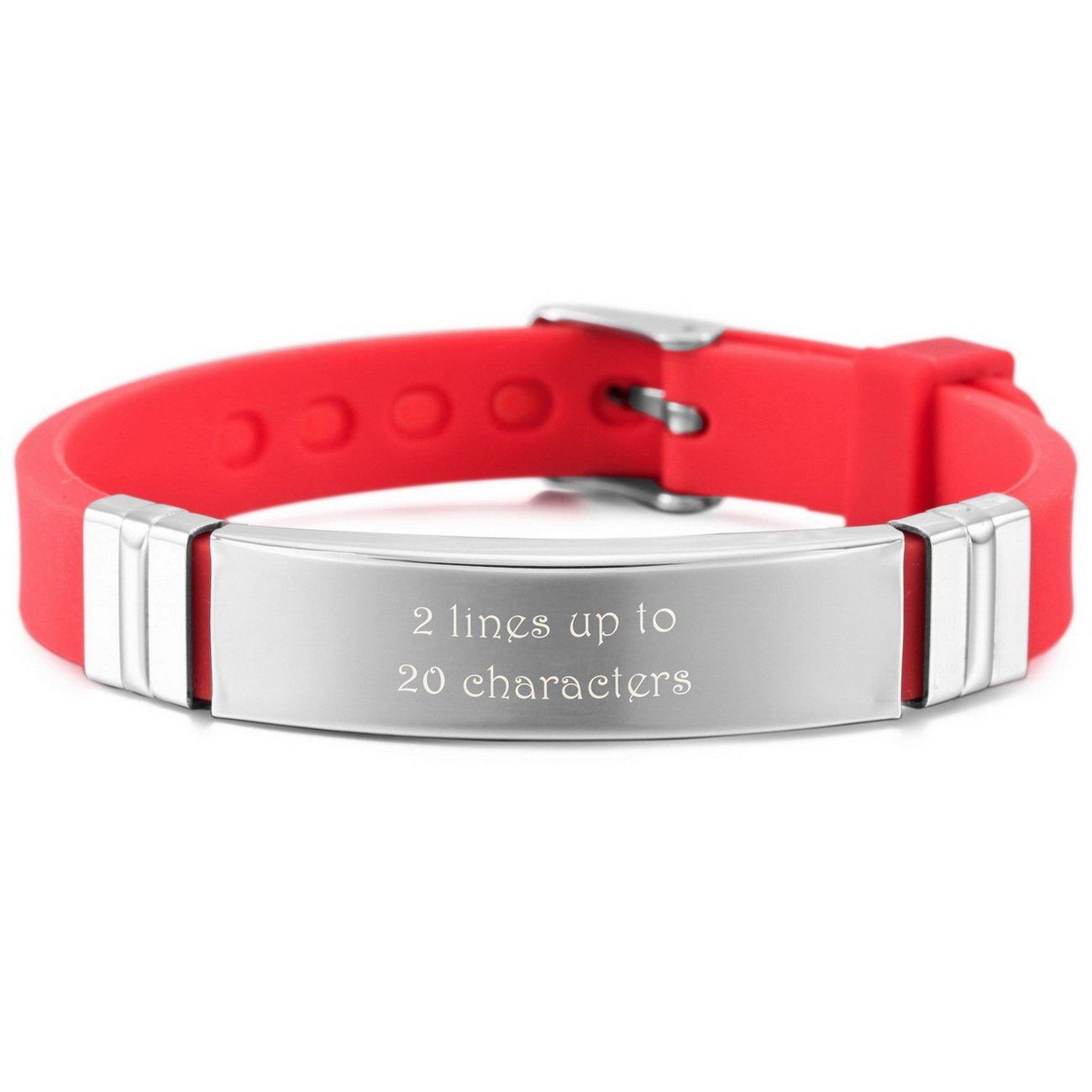 MeMeDIY Silver Tone Red Stainless Steel Rubber Bracelet Bangle Adjustable - Customized Engraving