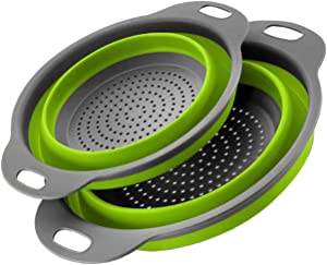 Atashojoe Collapsible Colander Set of 2 - Home Kitchen Silicone Food Grade Strainer with Plastic Handle - Flexible Heat Resistant Space Saver Dishwasher Safe Drainer for Pasta, Vegetables (Green)