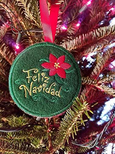 Christmas Ornament Embroidered Feliz Navidad handmade ornament Spanish Ornament Christmas Decoration Vintage like - Feliz Navidad Ornament