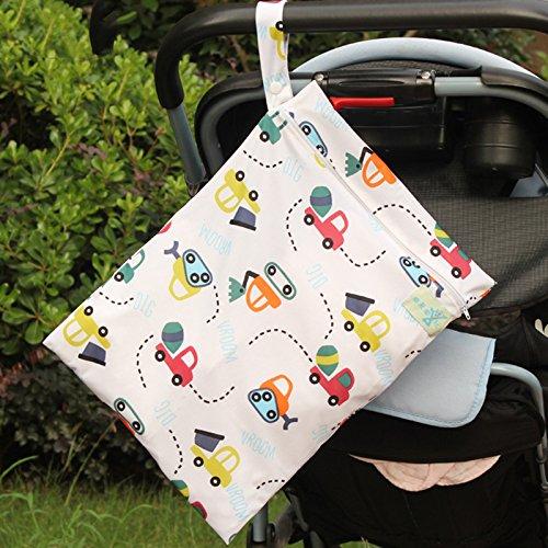 Qinlee Double Layer Baby Diaper Storage Bag Waterproof Wash Bags Women Printed Sanitary Pad Bag Portable Baby Stroller Organizer Bags Mini Travel Makeup Bag Random Color