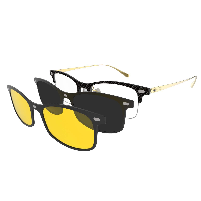 GLASSESKING Eyeglasses Frame With Magnetic Sunglasses Polarized Lens (Gold-Grey+Yellow)