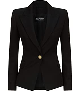 7dab9030 Balmain Women's Black Wool Double Breasted Blazer (34) at Amazon ...