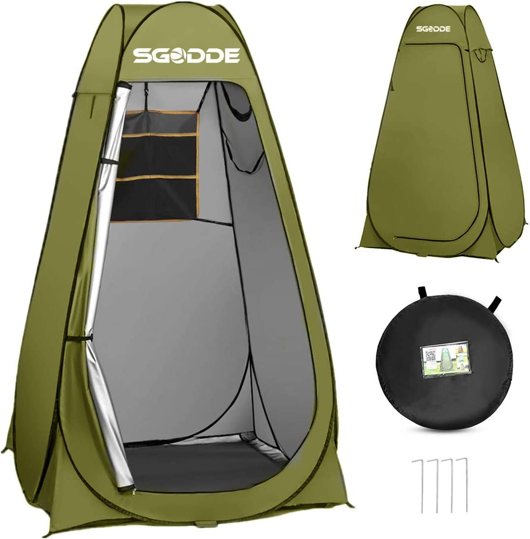 SGODDE Pop Up Privacy Shower Tent,Instant Portable Outdoor Shower Tent Camp Toilet, Changing Room, Rain Shelter with Carry Bag for Camping Hiking Beach Toilet Shower Bathroom Green: Sports & Outdoors