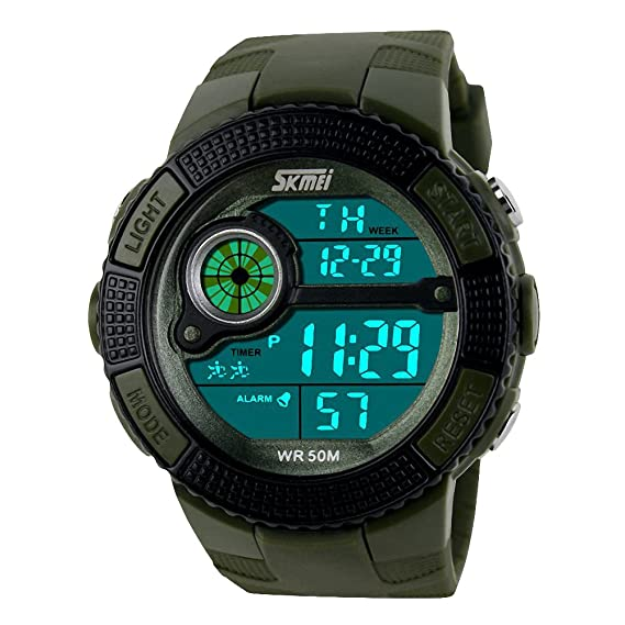 Nuevos hombres deportes LED Digital Militar reloj 50 m Buceo nadar vestido moda al aire libre relojes de pulsera verde: Amazon.es: Relojes