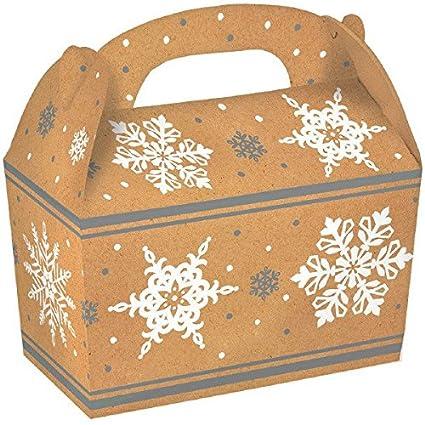 Amscan – 5 Count Navidad copos de nieve papel Kraft cartón Cajas de Gable, 4
