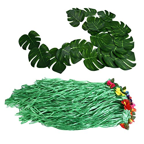 Hawaiian Luau Party Supplies-1 Pack Grass Table Skirt 9ft,20 Pcs Tropical Faux Palm Leaves5Pcs Adhesive Hook & Loop for Hula, Luau, Maui, Hawaiian, Moana Themed Party(26pcs) by COCOScent (Image #5)'