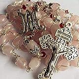 elegantmedical Handmade Silver Wire Wraped Pink Quartz Beads 5 Decade Rosary Cross Necklace Crucifix Box