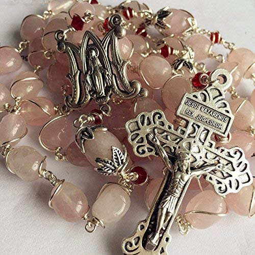 elegantmedical Handmade Silver Wire Wraped Pink Quartz Beads 5 Decade Rosary Cross Necklace Crucifix (Wire Crucifix)
