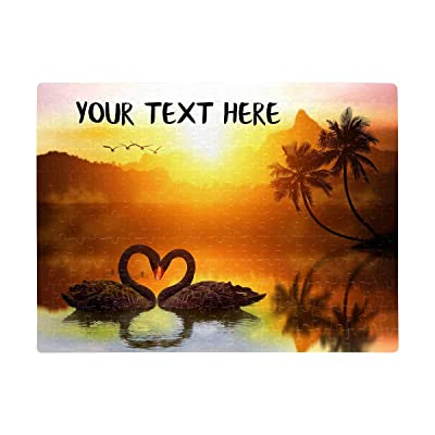 Personalized Puzzles, Custom Text Jigsaw Puzzles Rectangle Printed Swan Lake Sunset Photo Jigsaw Puzzle DIY Name Anniversary Wedding Date Puzzles for Adult Lover Friends A3 Size 252 Pieces: Toys & Games