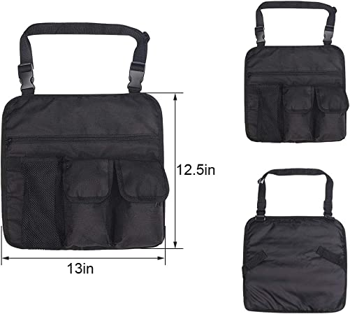 Armrest Bag Beach Chair Handy Pocket Outdoor Chairs Hanging Storage Pouch with 4 Pockets Shoulder Side Bag for Camping 13 X 13 inches Black