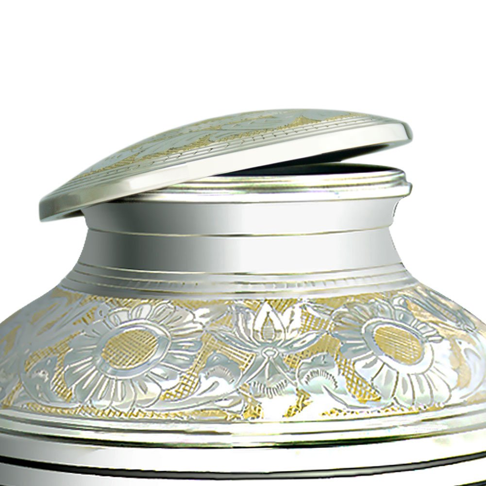 Cremation Urn for Human Ashes Adult – Brass Funeral Urn for Women or Men – Metal Hand Engraving Large Urn for Adults – Display Burial At Home or in Niche at Columbarium Silvery Shine Golden Flower