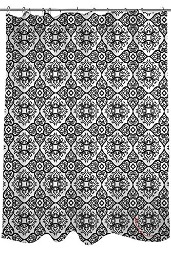 Manual Woodworkers & Weavers Shower Curtain, Winter Garden Baroque Black on White