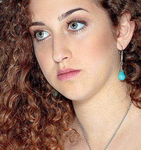 Dangle & Drop Earrings - Glass Bead Jewelry - Lampwork Jewelry - 316L Stainless Steel, Turquoise earrings, - Glass Earrings Dangle Lampwork