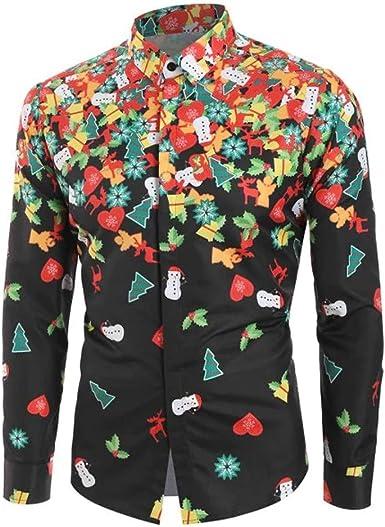 MEIbax Primavera Otoño Navidad Impresión Ocio Slim Fit Camisa Manga Larga Hombre Solapa Camisetas Tops Delgada Abrigo: Amazon.es: Ropa y accesorios