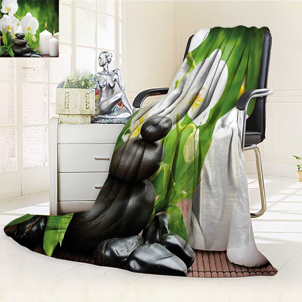 YOYI-HOME Duplex Printed Blanket,Suitable for Fall Winter Summer Spring Spa Zen Stones with Orchid and Burning Candles in a Romantic Harmony Green Charcoal Grey Warm Elegant Cozy Fuzzy Fluffy Faux