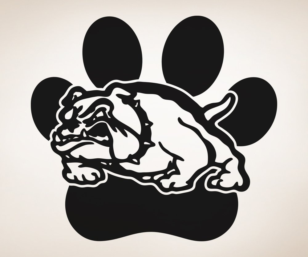 Uncategorized Bulldog Pictures To Print amazon com school mascot bulldog w paw print wall decal sticker by stickerbrand large 36in x 39in easy to apply removable