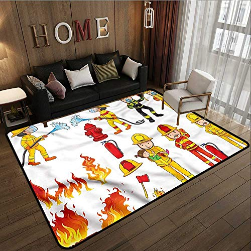(Outdoor Patio Rug Fireman Colorful Firefighter Design Anti-Slip Doormat Footpad Machine Washable 4'7