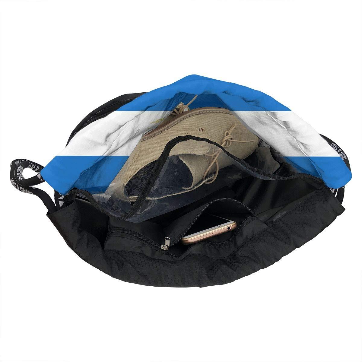 Nicaragua Flag Cinch Backpack Sackpack Tote Sack Lightweight Waterproof Large Storage Drawstring Bag For Men /& Women